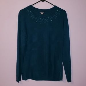 Dark Blue Embroidered and Gemmed Sweater